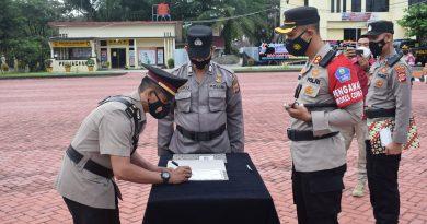 Kapolres Nagan Raya Pimpin Upacara Sertijab Kabag Ops, Kasat Lantas dan Kapolsek Beutong