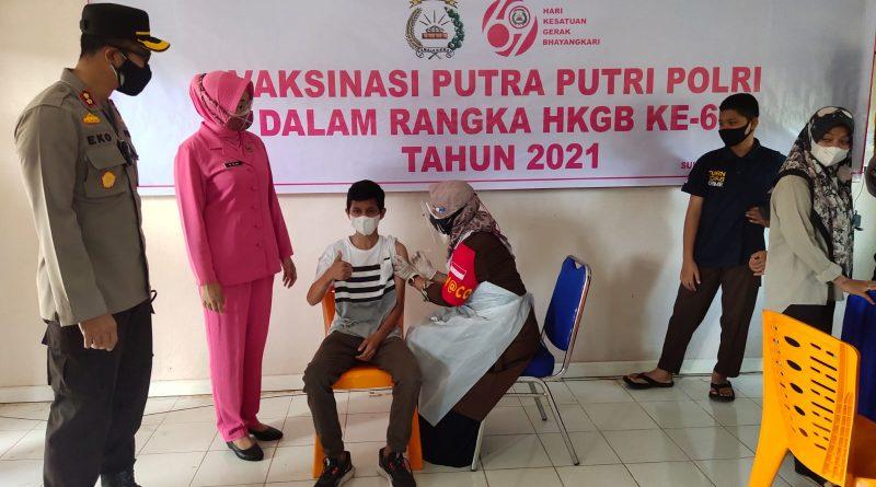 Polres Nagan Raya Laksanakan Vaksinasi Covid-19 Bagi Putra-Putri Polri dan Pelajar
